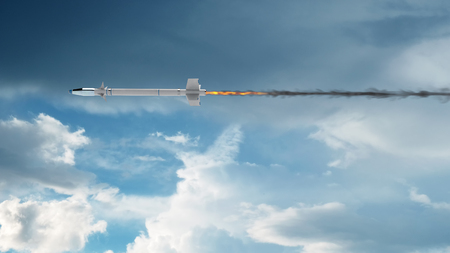 Military Missile Flying with sky background. 3d illustration