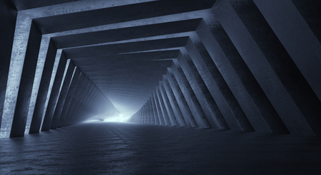 Light at the end of tunnel. 3d illustration Imagens