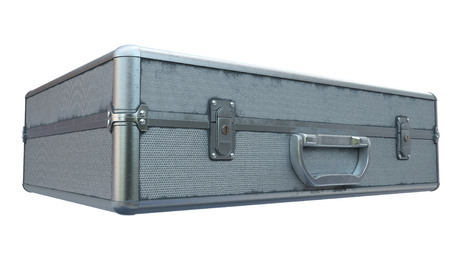 suitcase iron with locks on a white background. 3d illustration