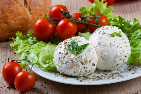 Fresh italian mozzarella with vegetables and tomatoes photo