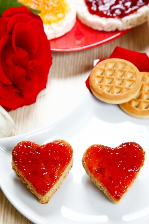 breackfast: a sweet breackfast with love and red hearths of jam