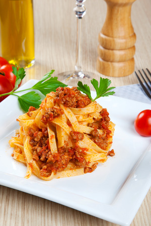 Noodels with meat sauce in a dish
