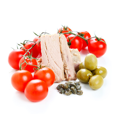 Tomatoes, tuna, olives and capers photo