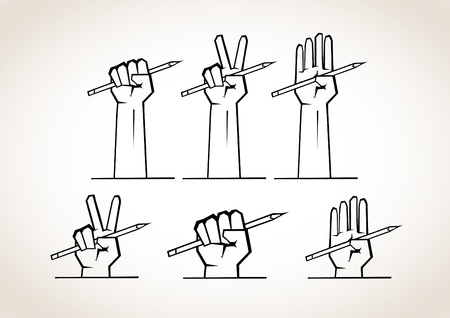 draftsmanship: Several options for the hands that hold the pencil  rock paper scissors  Illustration