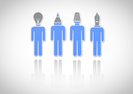 4 man have the tools head  Icon Stock Vector - 18199269