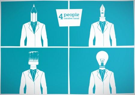 4 people  creative head Vector