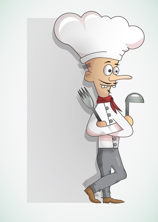 Chef standing with fork and spoon Vector