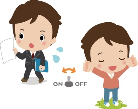 Young men to the switching of the working days and holidays Illustration