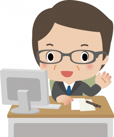 Counselor at the counter  Illustration