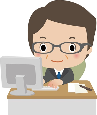 Middle businessman using a computer at his desk Illustration