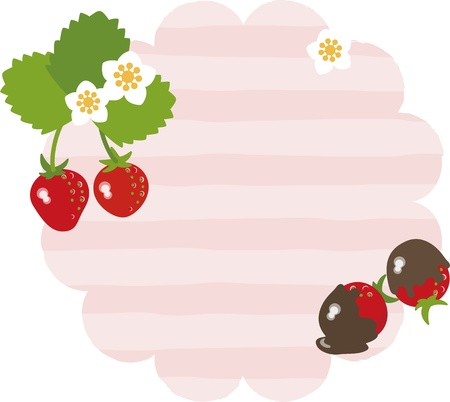Strawberry message card Illustration