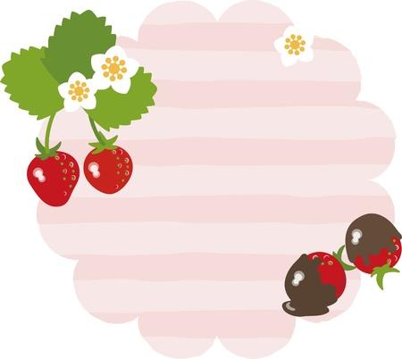 Strawberry message card Illustration