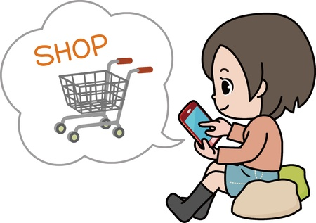 woman smartphone: Woman shopping on the Internet on a smartphone