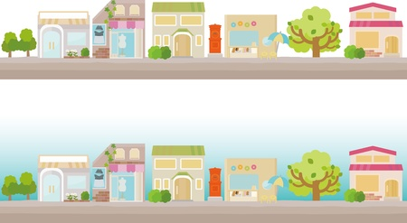 tree lined street: little town Illustration