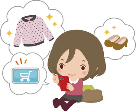 smart phone woman: The young woman who does on-line shopping with a smart phone