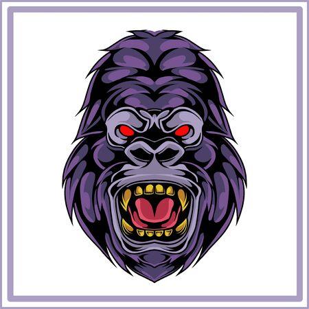 Kong head mascot logo design
