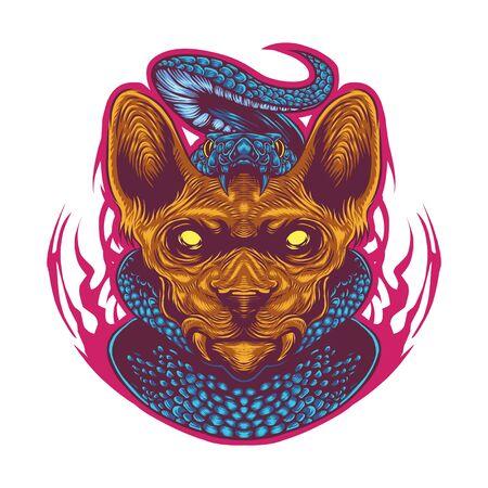 Sphynx cat head esport mascot logo with snake