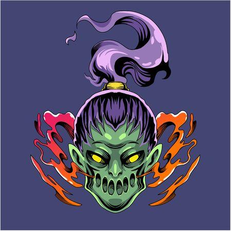 Zombie girl head mascot logo Illustration