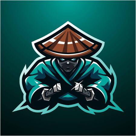 Ninja esport mascot logo design Illustration