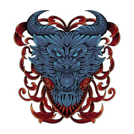Devil head mascot logo design Illustration