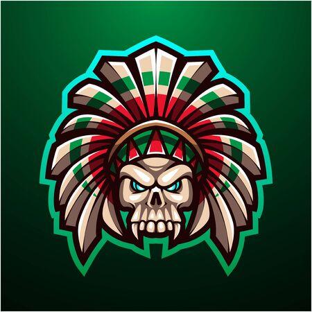 Tribal skull head mascot logo Logo