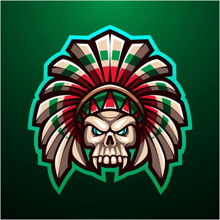 Tribal skull head mascot logo