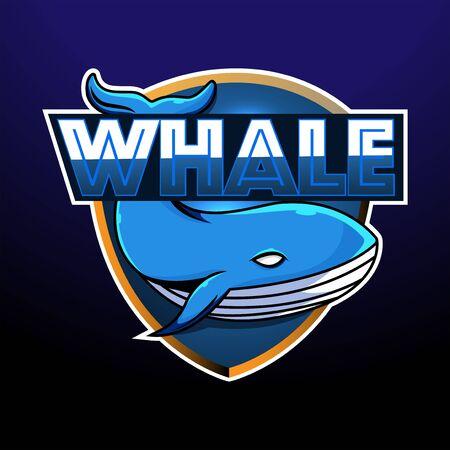 Whale esport mascot logo design