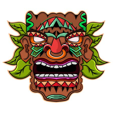 Tiki mask with leaves mascot logo Vettoriali