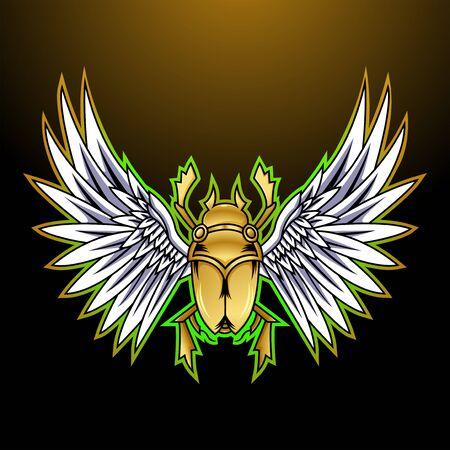 Scarab esport mascot logo design Ilustração