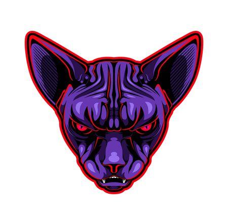 Sphynx cat head esport mascot logo