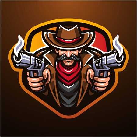 Cowboy esport mascot logo design Çizim
