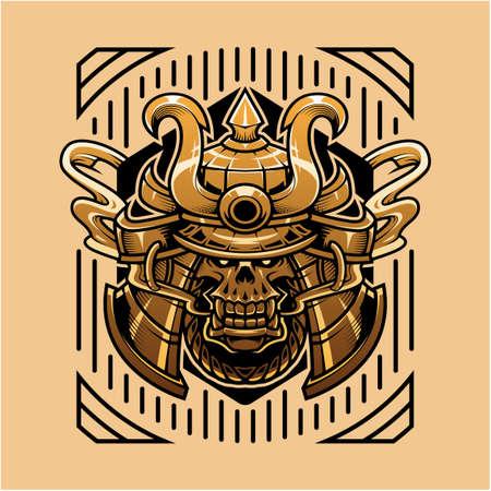 Samurai skull head mascot logo