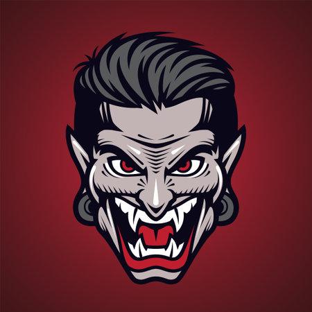Vampir head mascot logo design Logo