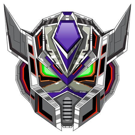 Robot head mascot logo design