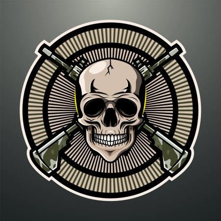 Skull gunner mascot logo design