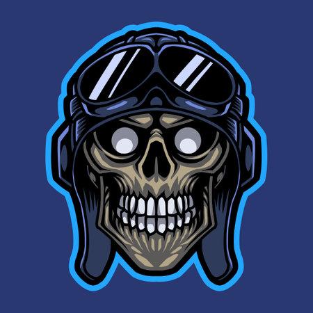 Rider skull head mascot logo