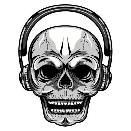 Skull with a headset mascot illustration