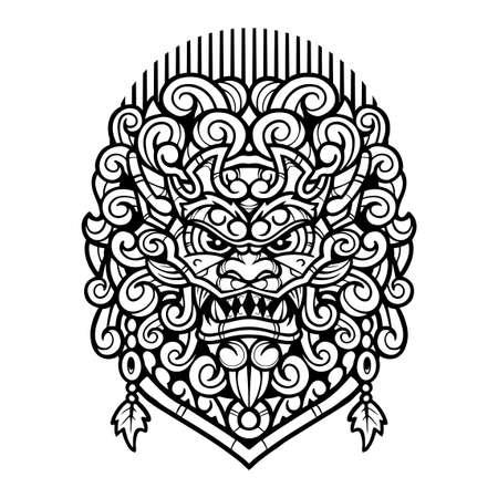 Foo dog vintage mascot logo