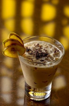 soporific: A Colada with chokolates flakes and sliced banana pieces. Stock Photo