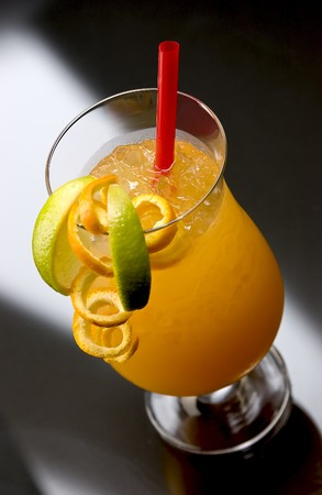 longdrink: Typical Hurricane Longdrink with orange, lime and red straw
