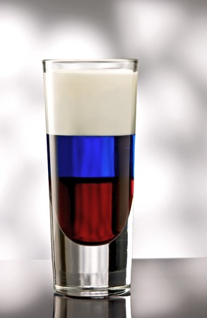 Pousse Caf� of July with a red, blue and white layer photo