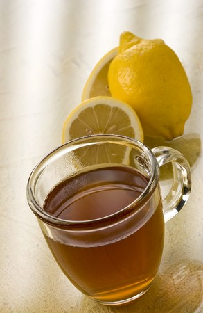 soporific: Hot Toddy Slingshot with lemon Stock Photo
