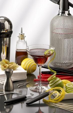 Mini Bar cocktail mixer accessories. photo