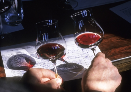 pellucid: Two cherry Wines compare by the color, with note. Stock Photo