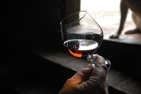 mano derecha: mano derecha sosteniendo una Copa de brandy con un fondo oscuro