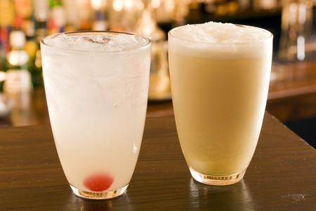 intoxicating: Fizzes Collins and Ramos Fizz both with crushed iceand serverd with a cherry.