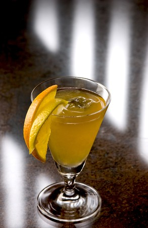 pellucid: Sidecar Cocktail with slices of apple and lemon
