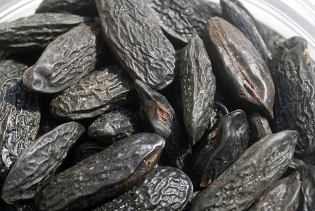 macrobiotic: black tonka beans laying in the sun Stock Photo