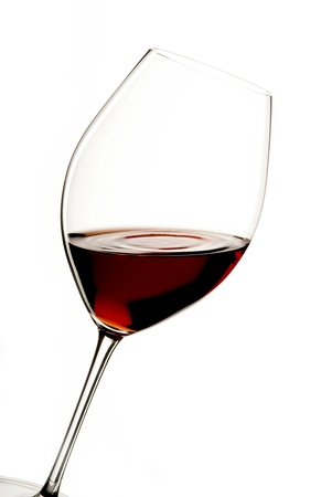 glass of red wine with a white background photo