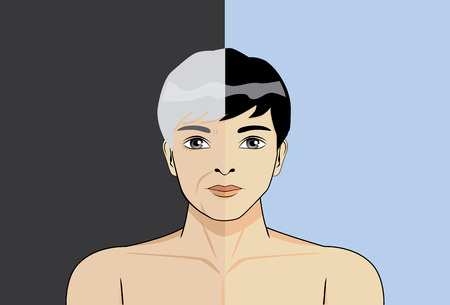Illustration about double age of man in 1 pictue Vector
